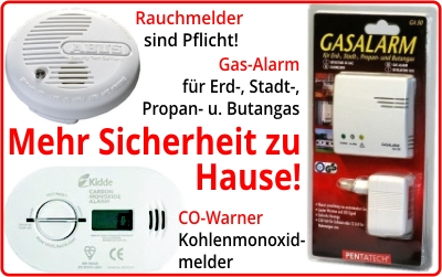 Rauchmelder, CO-Warner, Gas-Alarm